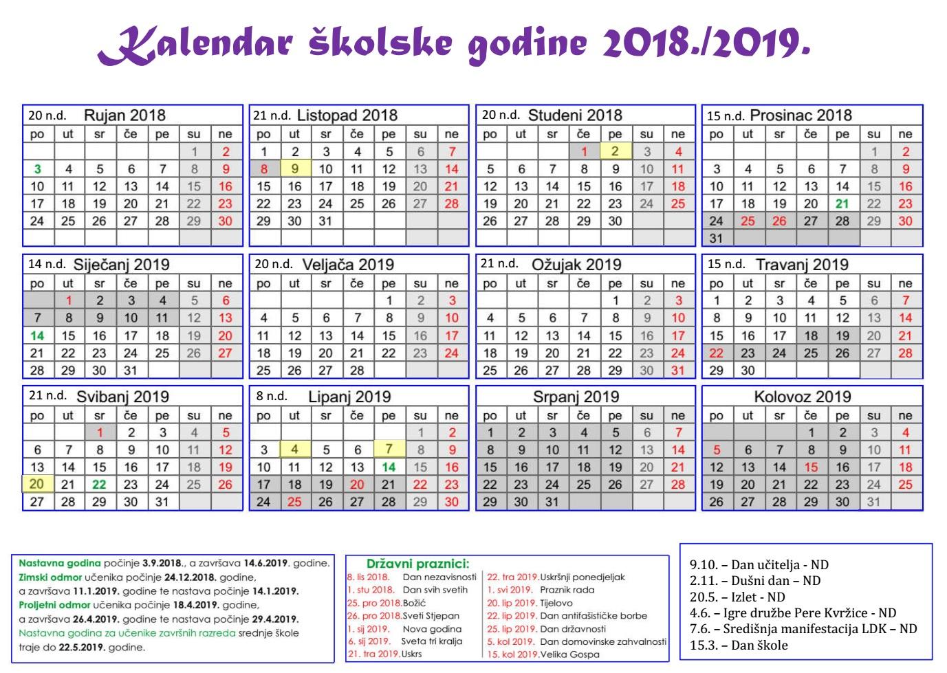 e9d7f2a932 Osnovna škola Mate Lovraka Veliki Grđevac - Kalendar rada